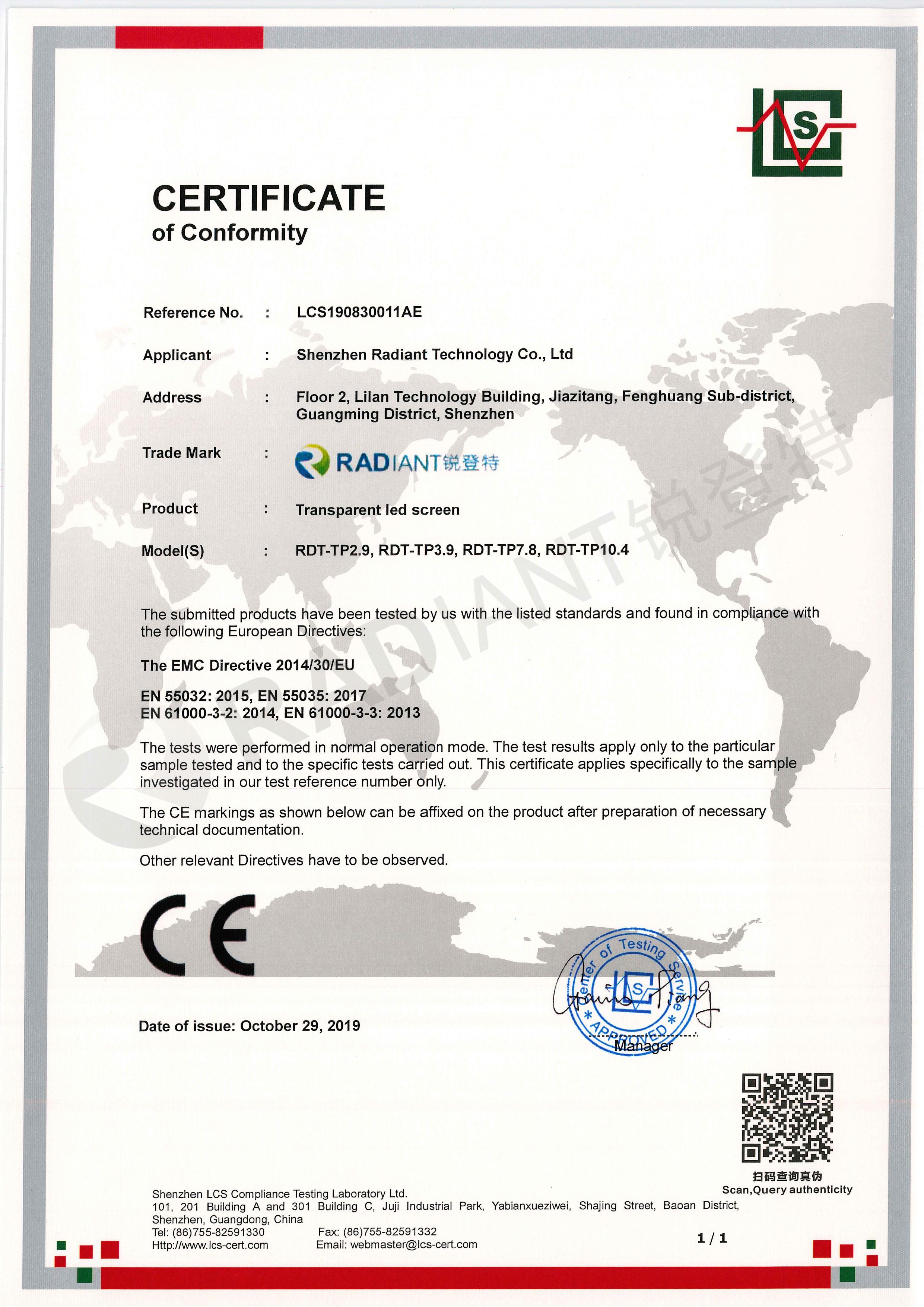 Transparent led Screen-CE-EMC_1